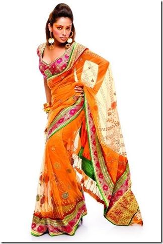 sari saris orange designer indian saree india pakistan someone musings margy teal
